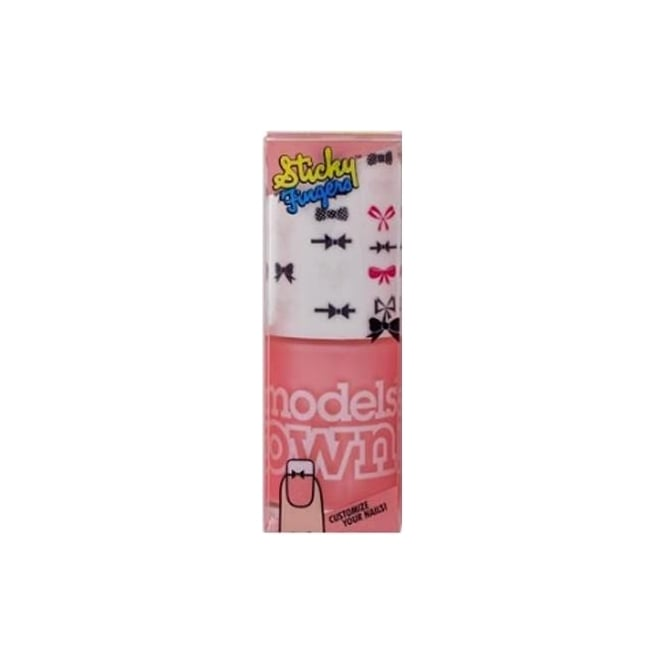 Models Own Sticky Fingers Nail Polish (Stickers included!) - Pastel Pink Bows 14ml