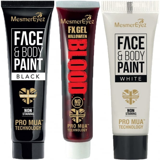 Mesmereyez Xtreme Trio Pack - 1 x White Face & Body Cream, 1 x Black Face & Body Cream and 1 x FX Gel Halloween Blood 3 x 16.6ml