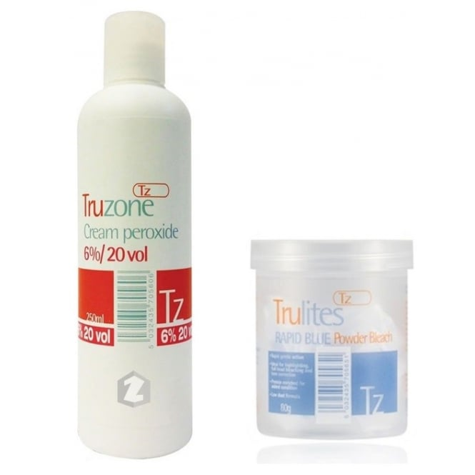 Truzone Trulites Rapid Blue Powder Bleach (80g) & 6%/20vol Cream Peroxide