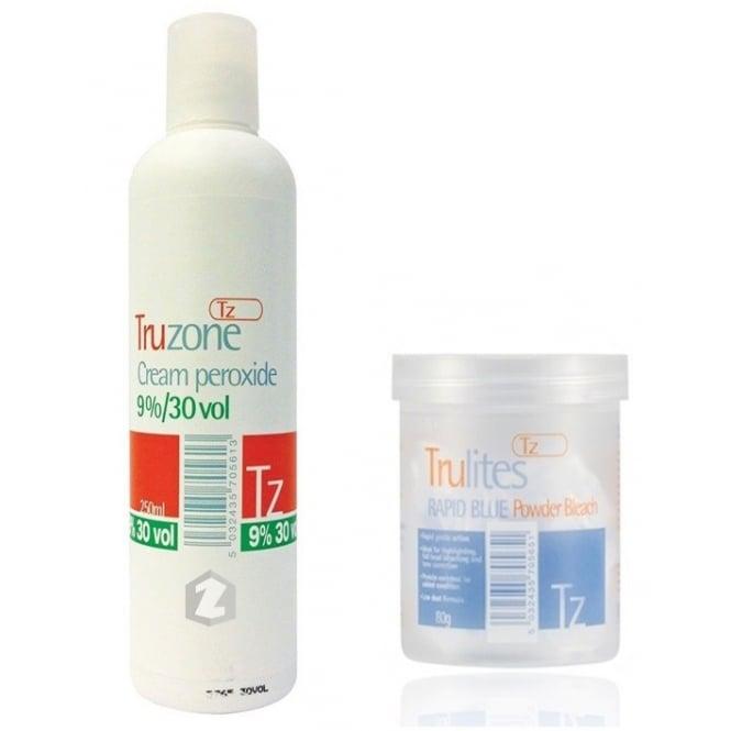 Truzone Trulites Rapid Blue Powder Bleach (80g) & 9%/30vol Cream Peroxide