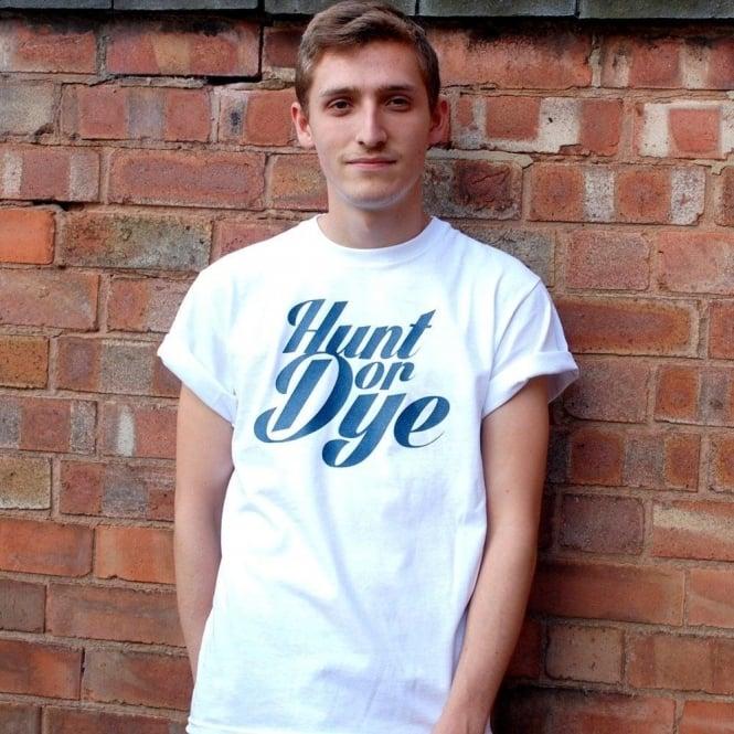 Hunt Or Dye Unisex Denim Print Logo Hunt Or Dye White T-Shirt