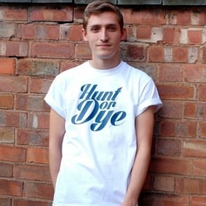 Unisex Denim Print Logo Hunt Or Dye White T-Shirt