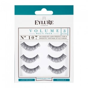 Volume No 107 Reusable Angled Eyelashes Pack Of 3 (Adhesive Included)