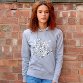 Zebra Print Logo Hunt Or Dye Ladies Grey Hoodie